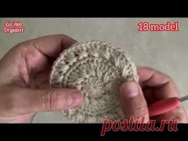 Tığ işi Kolay Model Şapka-Bere/Kız Bebek-Erkek Bebek ve Anne kombin/6-12 Ay