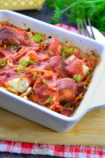 Рыба с капустой в духовке — рецепт с фото пошагово