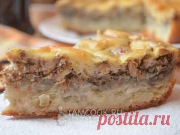 Вкусный рыбный пирог на заливном тесте из сметаны и майонеза. Начинка состоит из консервированной сайры, картофеля и лука.