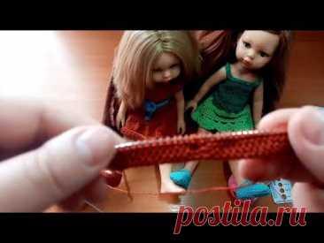 Вязаные спицами туфельки для куклы Паола Рейна.