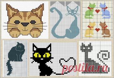 100 узоров жаккардовых схем с котиками и кошечками | ЖАККАРДос | Яндекс Дзен