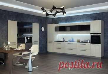 Прямая кухня со встроенными шкафами: фасады шпон, цветное стекло купить по цене 32 000 руб. за п/м. в Москве— интернет магазин chudo-magazin.ru