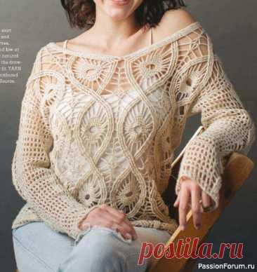 Ажурный Пуловер интересным узором   Женская одежда крючком. Схемы и описание