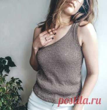 Женский топ спицами с открытым плечом, Вязание для женщин