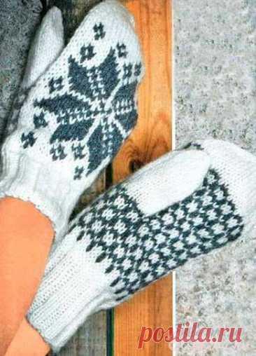 Варежки со снежинками спицами – 8 моделей + 10 схем с описанием и видео — Пошивчик одежды