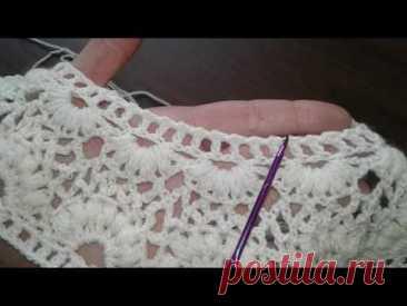 Пуловер крючком с круглой кокеткой. Часть 4.
