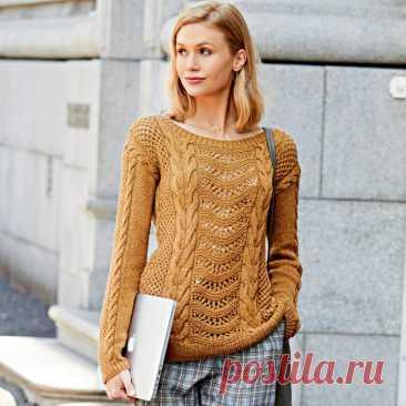 Джемпер цвета корицы спицами – 5 моделей со схемами и описанием — Пошивчик одежды