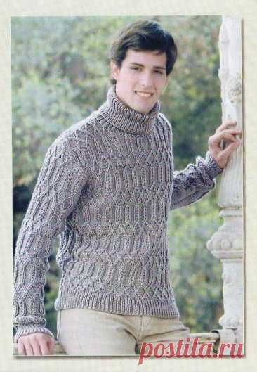 Мужской пуловер спицами — Клад рукоделия