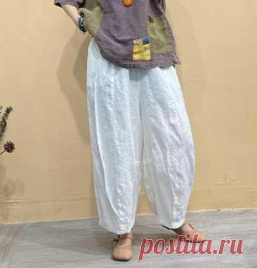 Women Linen Pants Oversized Bloomers Elastic Waist Pants | Etsy