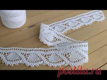 Ажурная КАЙМА крючком МАСТЕР-КЛАСС по вязанию ЛЕНТОЧНОГО КРУЖЕВА Crochet Ribbon Lace Border