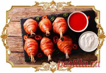 #Куриные #голени, #запечённые #в #беконе  Считаете, что просто запечь голени в духовке — это слишком просто? Тогда смажьте их соусом, оберните беконом и наслаждайтесь новым ярким вкусом.  Время приготовления: Показать полностью...