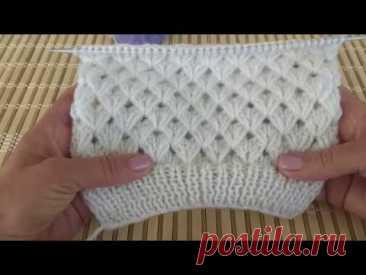 Ажурный узор Колоски в шахматном порядке. Вязание спицами. Knitting.