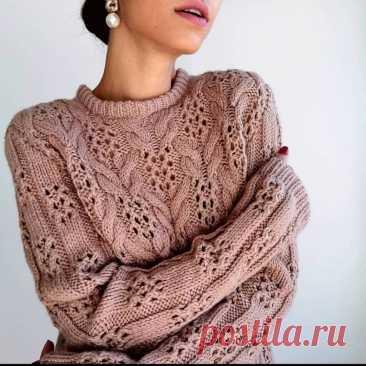 Вязаный пуловер с косами спицами, схема