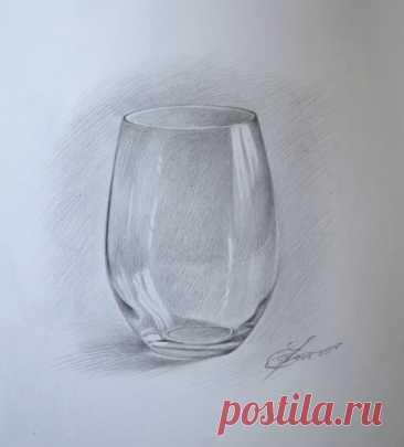 Как нарисовать стеклянную вазу и другие предметы из стекла карандашом