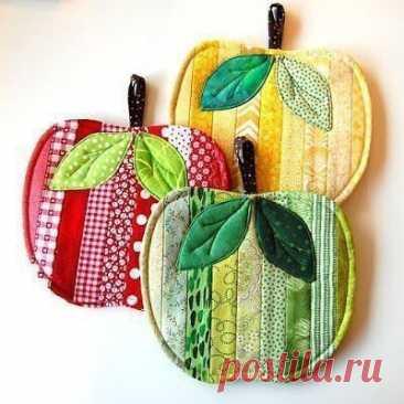 Пошив прихваток в форме яблочек