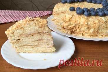 Торт наполеон с кремом пломбир – рецепт с фото