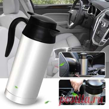Автомобильная нагревательная чашка 12/24 В 750 мл дорожная чашка из нержавеющей стали автомобильный нагревательный стакан чайник для горячей воды большая емкость из нержавеющей стали|Крышка отопления транспорта| | АлиЭкспресс