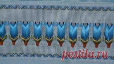 Вышивка лентами на полотенцах