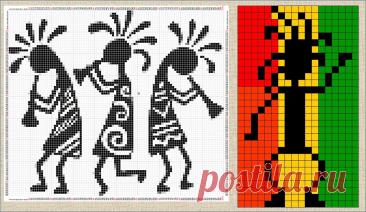 Жаккардовые схемы и вязанные модели с индейскими пляшущими человечками - кокопелли - вязание спицами - большая подборка | МНЕ ИНТЕРЕСНО | Яндекс Дзен
