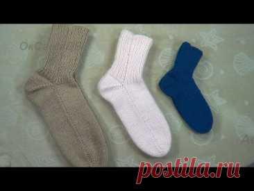 Бесшовные носки на 2х спицах на любой размер. Вяжем с Оксаной Валерьевной.