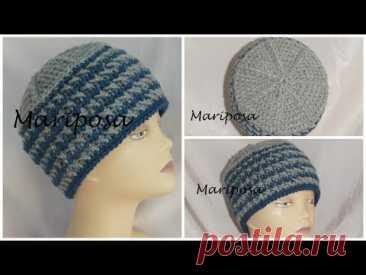 Зимняя шапочка крючком . Cap crochet unisex ( # 7 ) - YouTube