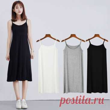 Женское модальное платье-комбинация на бретелях-спагетти, юбка-жилет длиной от 90 до 120 см | Женская одежда | АлиЭкспресс