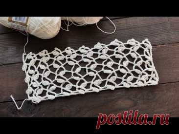 Узор «Листики в сетке» крючком 🌿 «Leaves in a grid» crochet pattern