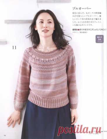 Симпатичный пуловер спицами
