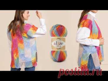 Diva Batik ile Ebru Efektli Yelek • Marble Pattern Vest • Жилет С Эффектом Мраморного Искусства