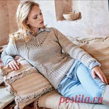 Привлекательный пуловер спицами