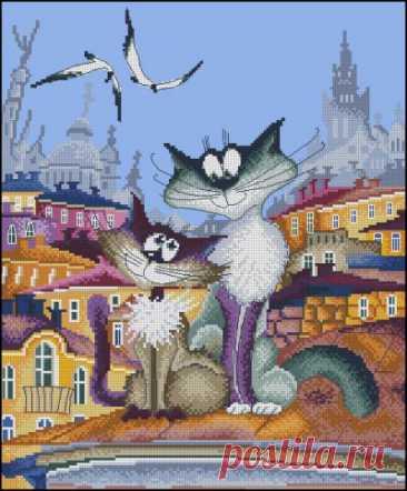 схема для вышивки крестом забавной парочки влюбленных котов на крыше Кошачьи нежности