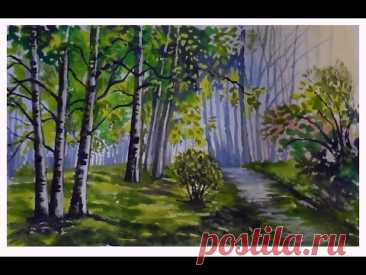 Летний пейзаж гуашью. Березовая роща. Как нарисовать дерево