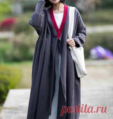 Gray cotton long coat longsleeve Windbreaker oversized coat | Etsy