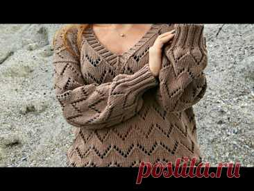 Простой и ОЧЕНЬ красивый пуловер СПИЦАМИ.МК Узор Зигзаг + Схема