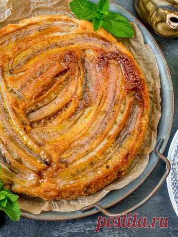 Рецепт пирога с карамельными бананами 🔥 на Вкусном Блоге