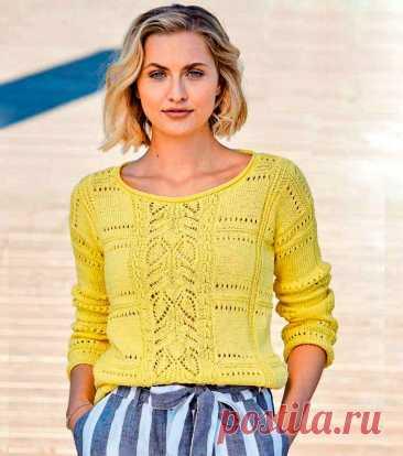 Желтый пуловер с сочетанием узоров (Вязание спицами) Этот летний пуловер связан спицами и хлопка различными узорами — «Косами», ажурными и дырчатыми узорами, узором «Плитка», такой пуловер подойдет и к брюкам и к юбке. Размеры: 36/38 (40) 44/46 Вам п…