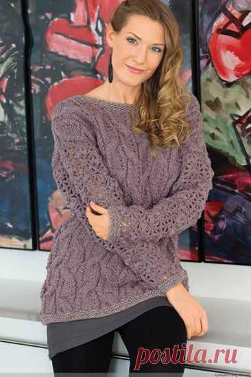 Женственный пуловер спицами с ажурными рукавами крючком – схемы с описанием — Пошивчик одежды