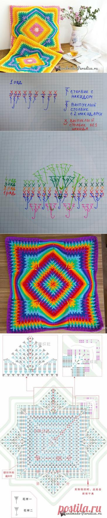 Вязание подушки крючком с эффектом градиента | Елена М | Яндекс Дзен