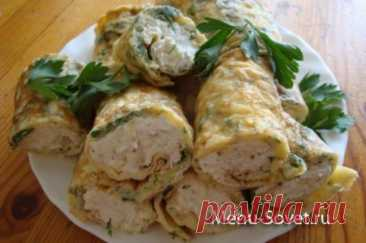 Pancakes from an omelet with chicken forcemeat