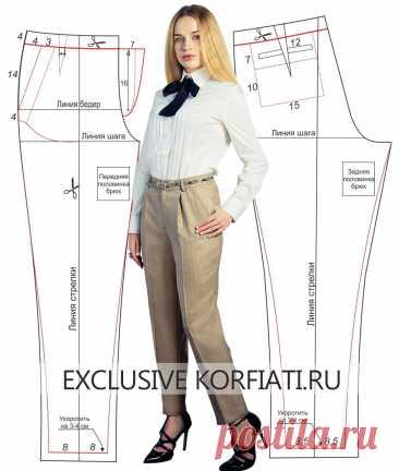 Выкройка зауженных брюк от Анастасии Корфиати Ярко и модно: выкройка зауженных брюк из набивной ткани. Очаровательные зауженные брюки – идеальный модный комби-партнер к любому топу или пиджачку! Весной