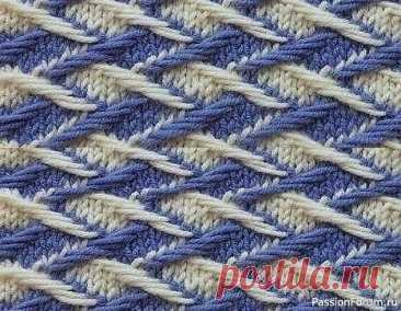 Двухцветный тканый узор спицами   Вязание спицами для начинающих