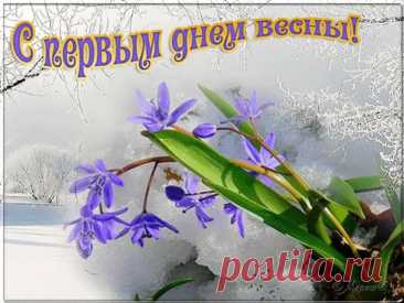 Поздравляем всех с первым днем весны  Вот долгожданный день пришел – весна теплеет на пороге, Устали мы от холодов, под снегом спят еще дороги. Всем нам так хочется тепла, погреться под лучами солнца, Растает лед, придет весна, лучом сыграет не стекле оконца. Пора и санки прятать до зимы, и лыжи, и коньки, и «плюшки», И подождут до декабря любимые