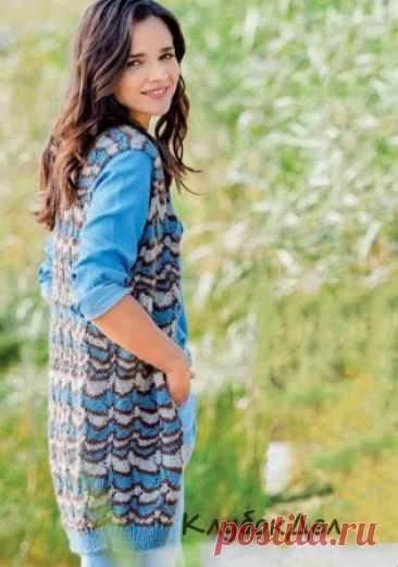 Длинный жилет в полоску В сочетании с джинсами и спортивной блузкой-рубашкой этот длинный жилет с трехцветным зигзагообразным узором как раз то, что вам необходимо на каждый день.Размеры: 38/40 (48/50)Вам потребуется: пряжа (50% шерсти. 50% полиакрила; 95 м/50 г) - 250 (350) г серо-голубой и 200 (300) г бежевой; пряжа