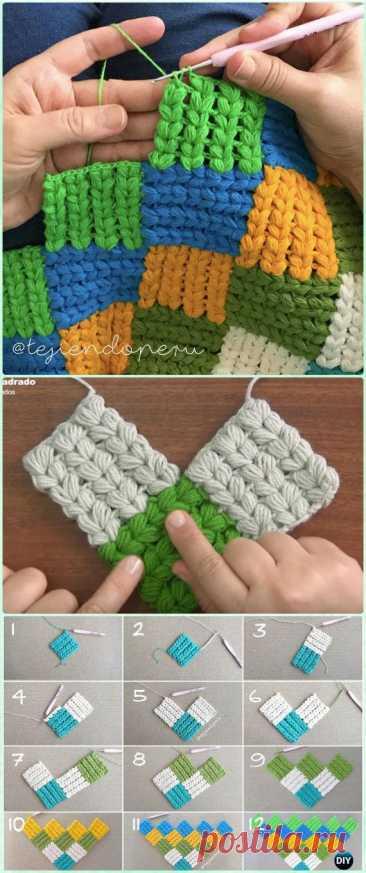 Пэчворк крючком. Crochet Block Blanket Free Patterns