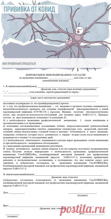 Образец письменного отказа от вакцинации против коронавируса в 2021 году