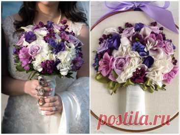 Великолепные свадебные букеты, вышитые лентами | Рукоделие