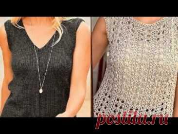 Женский топ спицами - Women's top with knitting needles - YouTube