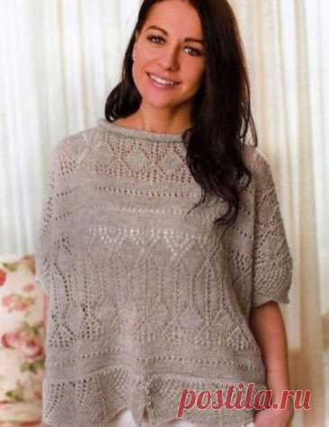 Ажурный пуловер спицами. Блог lavka_rukodeliyansk2  Источник: https://www.instagram.com/p/COJyK5gARba/