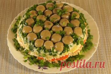 Салат Грибная поляна с шампиньонами и отварной курицей, рецепт с фото и видео