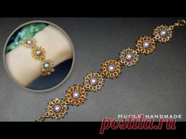 DIY crystal flower bracelet with bicone and seed beads. How to make beaded bracelet